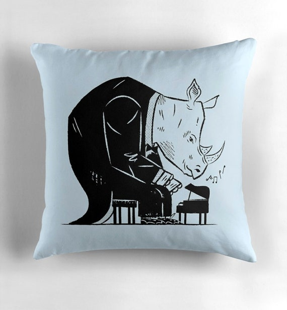 Rhinoceros Rhapsody - throw pillow cover / cushion cover including insert by Oliver Lake / iOTA iLLUSTRATION