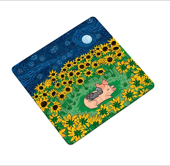 Among the Sunflowers, pig and chinchilla, jigsaw puzzle, 16 pieces, 36 pieces by Oliver Lake