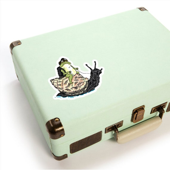 "The Snail and The Frog - animal sticker -  2"" 3"" 4"" 6"" by Oliver Lake - iOTA iLLUSTRATiON"