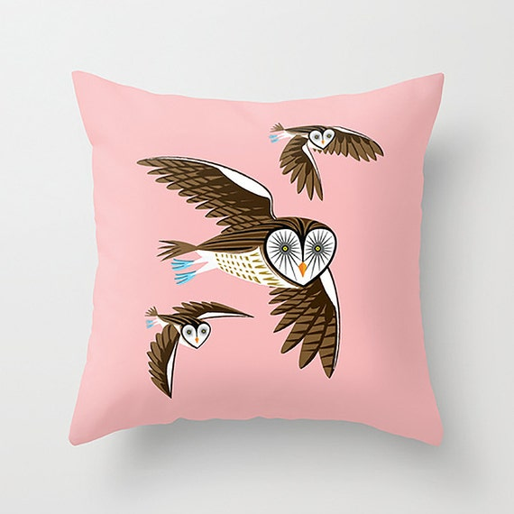"Owls On The Prowl - Pink Throw Pillow / Cushion Cover (16"" x 16"") iOTA iLLUSTRATION"