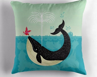 The Bird and The Whale - cushion cover / throw pillow cover including insert by Oliver Lake - iOTA iLLUSTRATiON