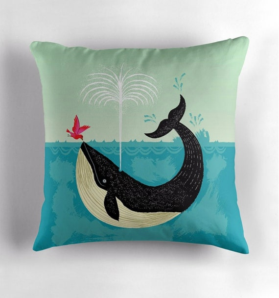 The Bird and The Whale - cushion cover / throw pillow cover by Oliver Lake - iOTA iLLUSTRATiON