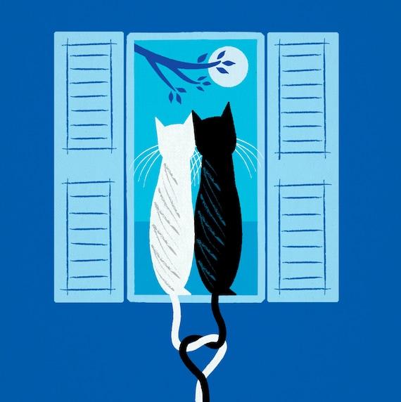 The Lovecats - limited edition - animal art print - iOTA iLLUSTRATION