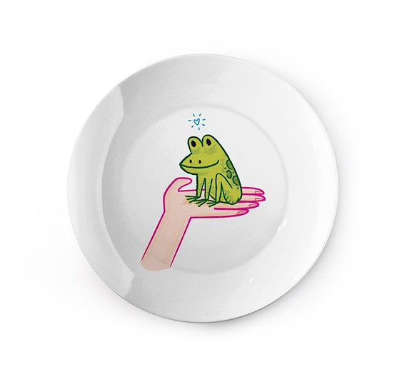 A Frog In Hand - children's plate - china dish - animal design by Oliver Lake iOTA iLLUSTRATiON