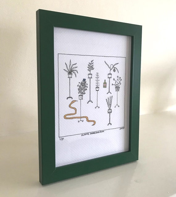 Plants, Snake and Rum, original drawing and hand written poem, funny poetry, framed drawing, green frame, 1 of 10 by Oliver Lake
