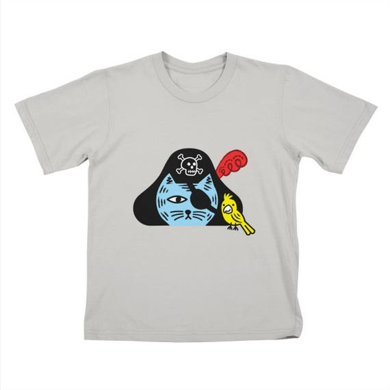 Pirate Kitty - Childrens T-shirt - White / Royal Blue / Clover Green / Stone by Oliver Lake - iOTA iLLUSTRATION