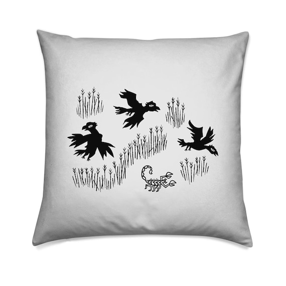 Crow, Crow, Scorpion, Crow - cushion cover, throw pillow cover, animal design, including insert by Oliver Lake