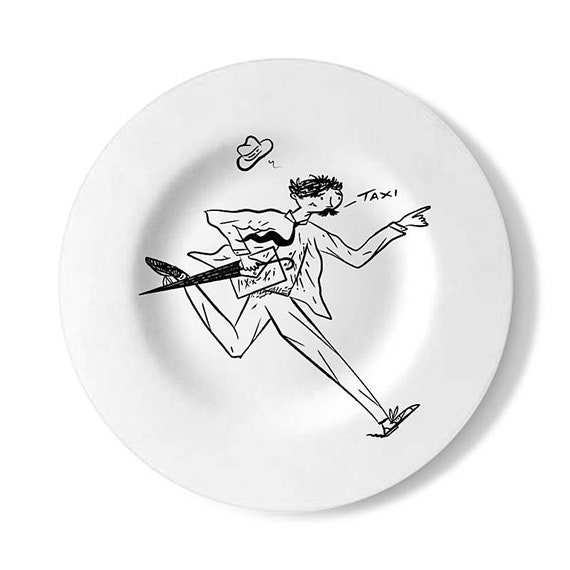 Running Late, decorative wall plate, handmade black and white illustrated plate, by Oliver Lake
