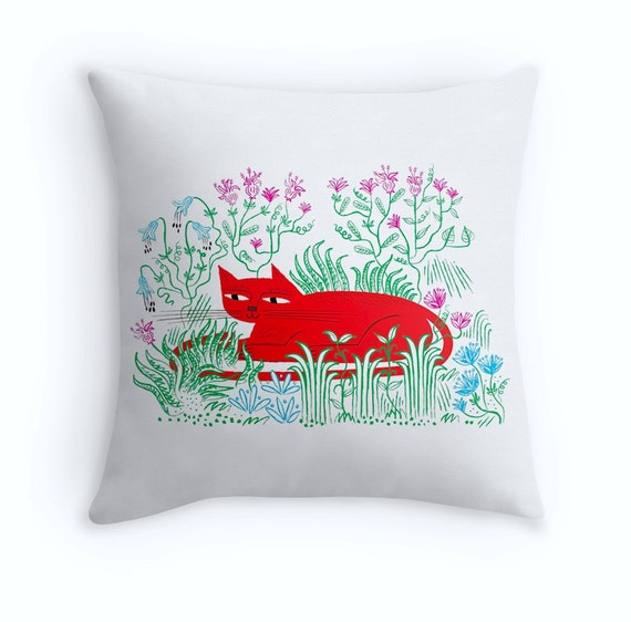 "The Garden Cat - Throw Pillow / Cushion Cover - Kids art - Nursery Decor - (16"" x 16"") by Oliver Lake"