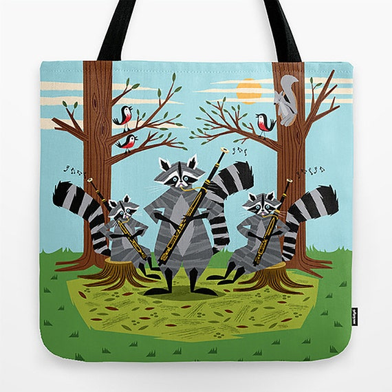 "Raccoons Playing Bassoons - 18"" x 18"" - illustrated Tote Bag - iOTA iLLUSTRATiON"