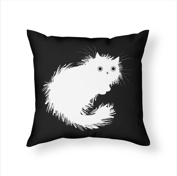 Moggy (No.2) -  White on Black - Throw Pillow / Cushion Cover including insert by Oliver Lake / iOTA iLLUSTRATION