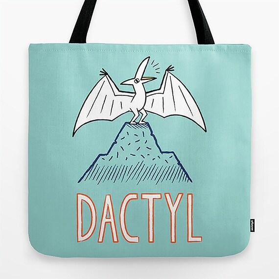 "DACTYL - Dinosaur - Pterodactyl - Light Green - Tote Bag - Book Bag  Record bag - 18"" x 18"""