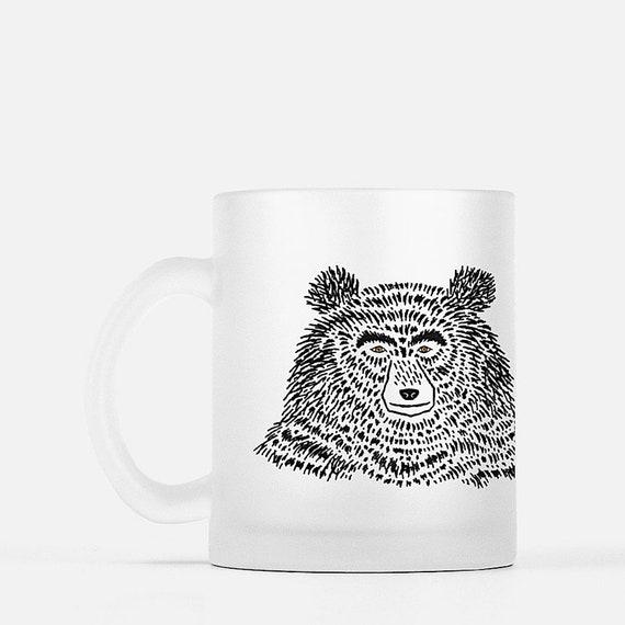 The Bear - frosted glass mug - animal design - illustrated mug by Oliver Lake