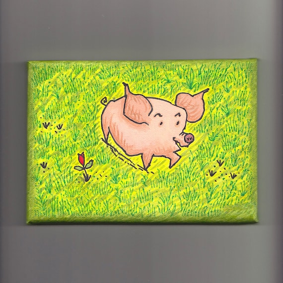 """Sunflower, children's painting, mixed media, pig art, on stretched canvas, size 5"""" x 7"""" by Oliver Lake"""