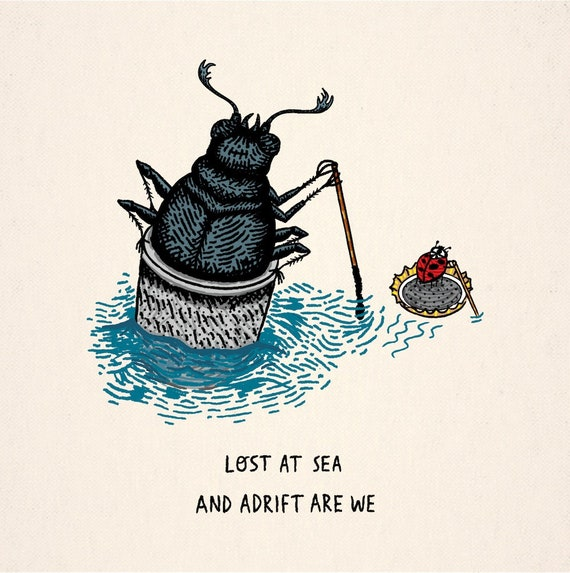 Lost At Sea - Beetle / Ladybird - insect animal art print by Oliver Lake - iOTA iLLUSTRATiON