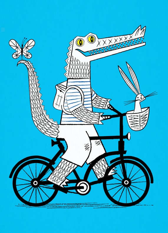 The Crococycle - Crocodile / Bicycle - Animal Art Poster - Children's Art - Room Decor - Limited Edition Print - iOTA iLLUSTRATiON