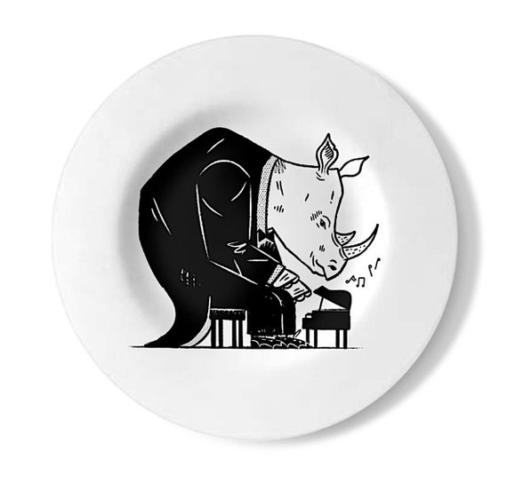 Rhinoceros Rhapsody, decorative wall plate, handmade rhino playing piano plate, by Oliver Lake