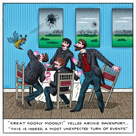 An Unexpected Turn of Events - absurd art, comic art print - limited edition print by Oliver Lake