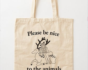 """Please Be Nice To The Animals (No.1), Tote Bag, Book Bag , Record bag - 15.25""""  x 15.75"""" (38.5cm x 40cm)"""