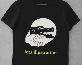 iOTA iLLUSTRATION (No.2), Shadow Puppet, Crocodile, alligator, Bella Canvas, Unisex Crew Neck T-Shirt, Black and White Tee