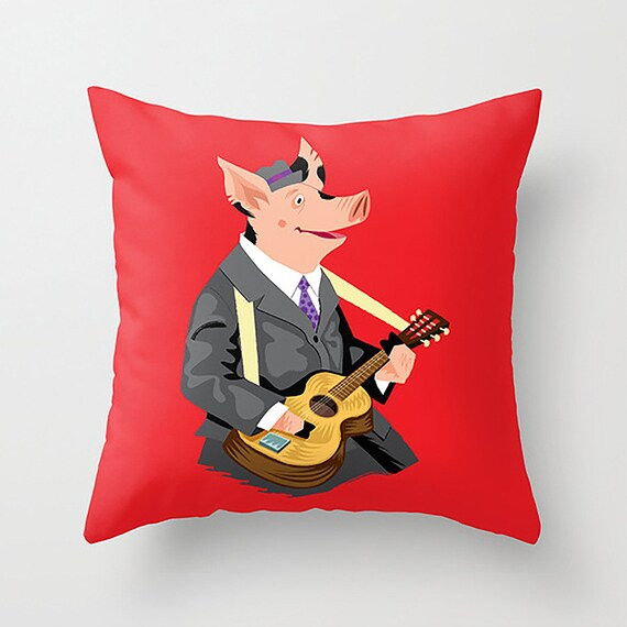 "Smokey Hog Mcghee - Throw Pillow / Cushion Cover (16"" x 16"") iOTA iLLUSTRATION"