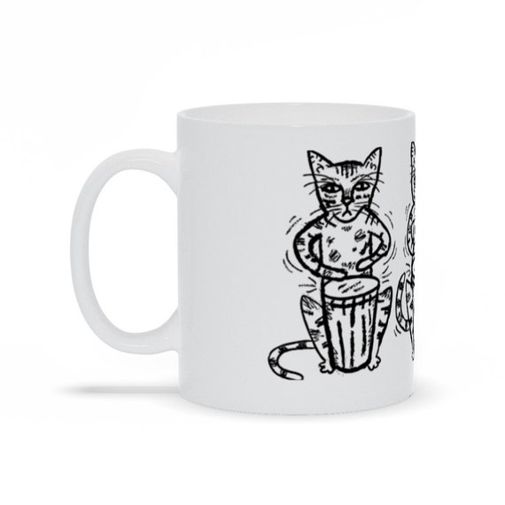 Bengali Bongos - Coffee Mug - Cat Mug - Black and White mug - tea mug - illustrated mug by Oliver Lake iOTA iLLUSTRATiON