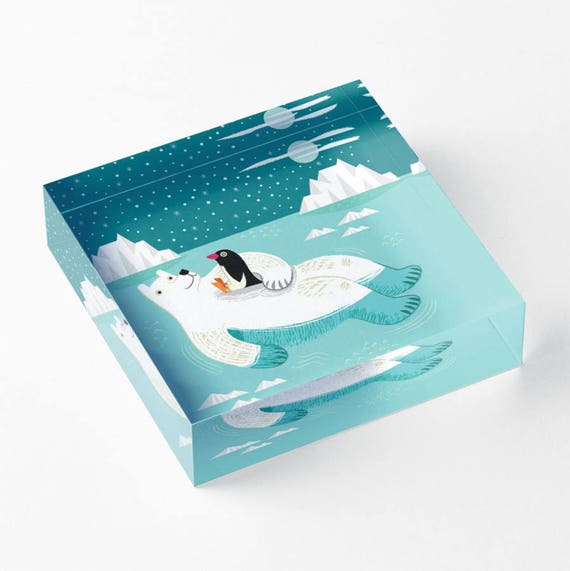 "Hitching A Ride - Polar Bear and Penguin - Acrylic 'Ice' Block - Children's Decor - Kids room - Nursery Decor - 6"" x 6"" -  iOTA iLLUSTRATION"