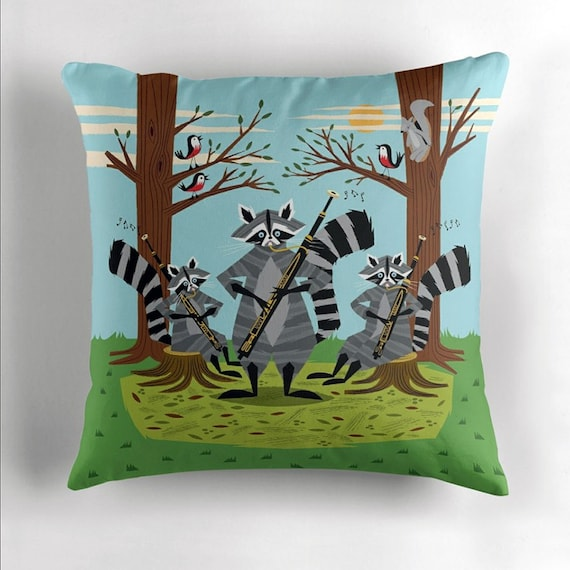 Raccoons Playing Bassoons - cushion cover / throw pillow cover including insert - children's room decor - by Oliver Lake iOTA iLLUSTRATiON