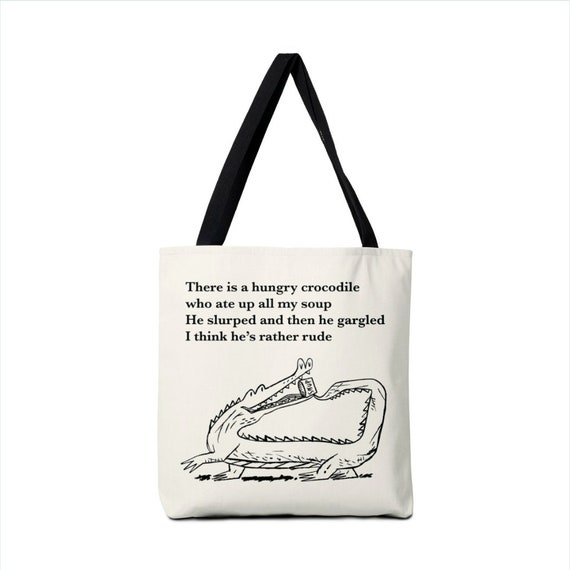There Is a Hungry Crocodile - black and white illustrated Tote Bag by Oliver Lake - iOTA iLLUSTRATiON