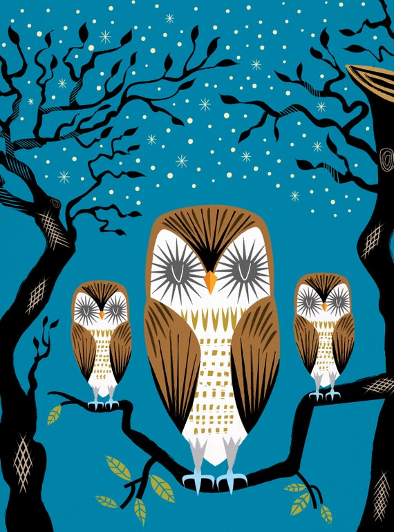 Three Lazy Owls - Animal Art Poster Print by Oliver Lake - iOTA iLLUSTRATiON
