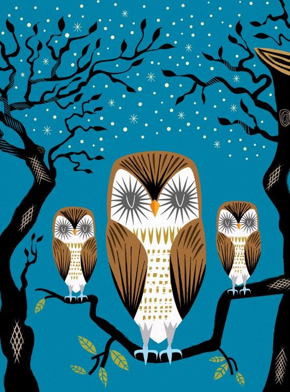 Three Lazy Owls - Animal Art Poster Print by Oliver Lake - iOTA iLLUSTRATiON