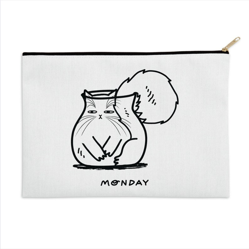 make up bag black and white pencil case Monday funny cat zip pouch 8.5 x 6  12.5 x 8.5  by Oliver Lake iOTA iLLUSTRATiON