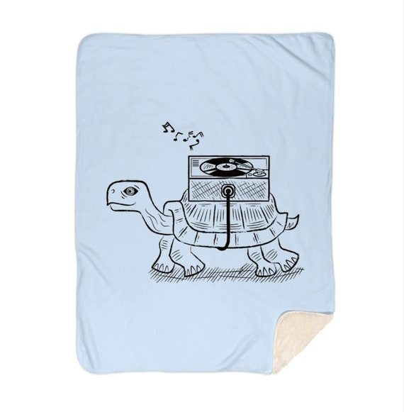 "Tortoise Wax - baby blue - illustrated sherpa blanket - home decor - 60"" x 80"" by Oliver Lake iOTA iLLUSTRATiON"