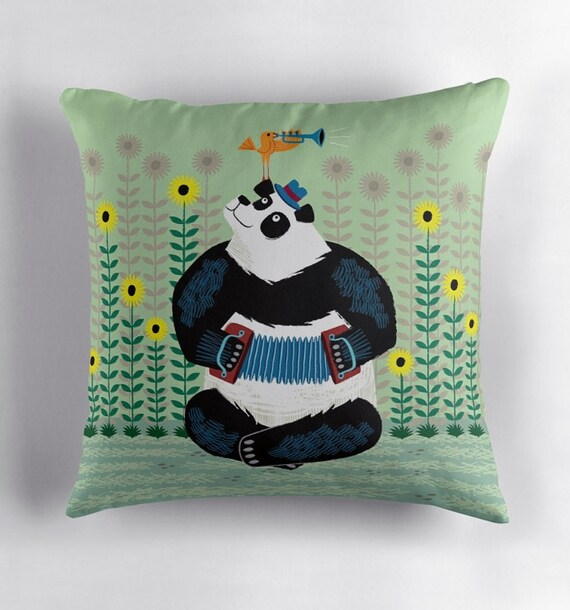 Panda Piazzolla and The Trumpet Bird - throw pillow / cushion cover including insert by Oliver Lake