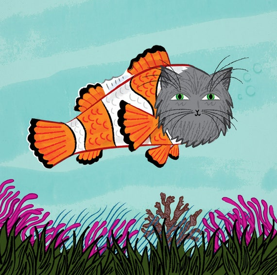 Catfish - cats / fish - art poster print by Oliver Lake - iOTA iLLUSTRATiON