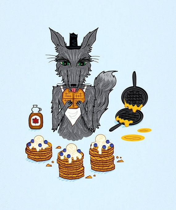 The Wolf Who Loved Waffles - Limited Edition Art Print by Oliver Lake - iOTA iLLUSTRATION