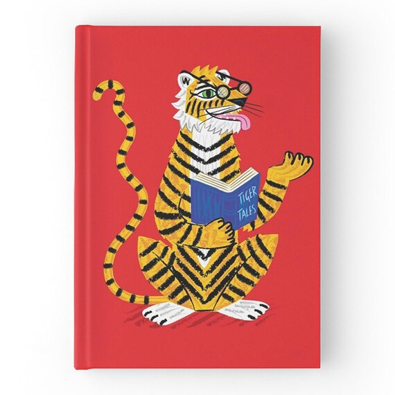 Tiger Tales - Red Hardcover Office Journal book - Ruled Line - iOTA iLLUSTRATION