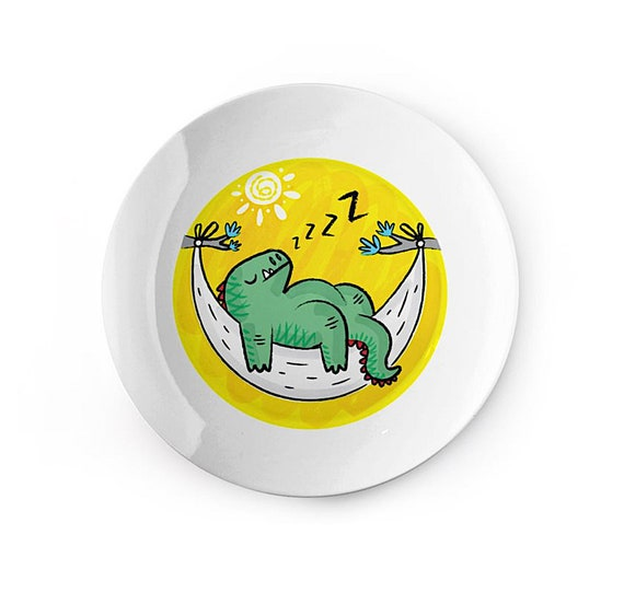 Dinosnore - china plate - dinosaur design - children's dish by Oliver Lake iOTA iLLUSTRATiON