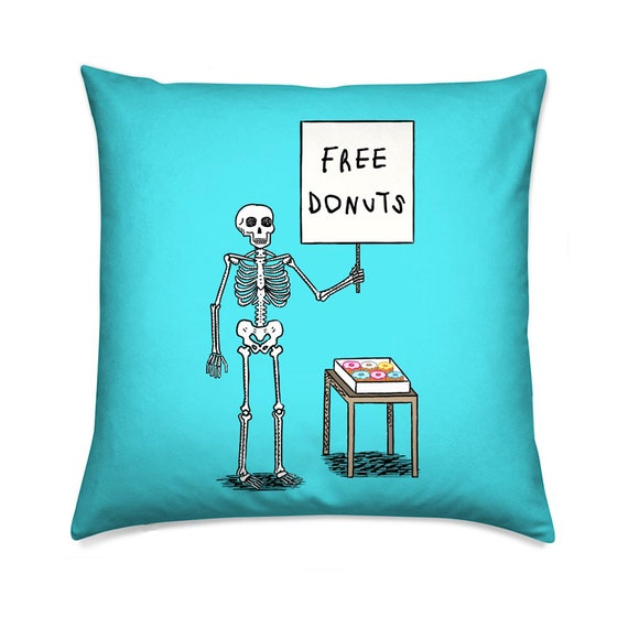 Donuts and Death, turquoise, skeleton design, decorative throw pillow, cushion including insert by Oliver Lake / iOTA iLLUSTRATION