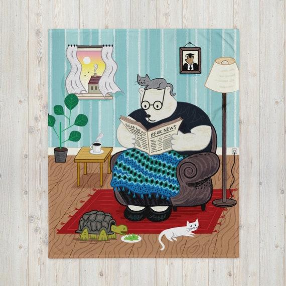 The Morning Papers, throw Blanket, bear blanket, children's rug, cute animal blanket by Oliver Lake