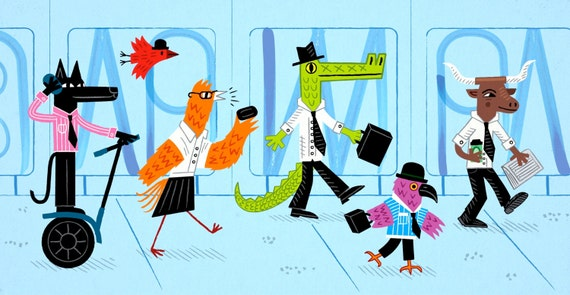 Another Day, Another Dollar - Limited Edition Art - Animal Illustration Print - iOTA iLLUSTRATiON