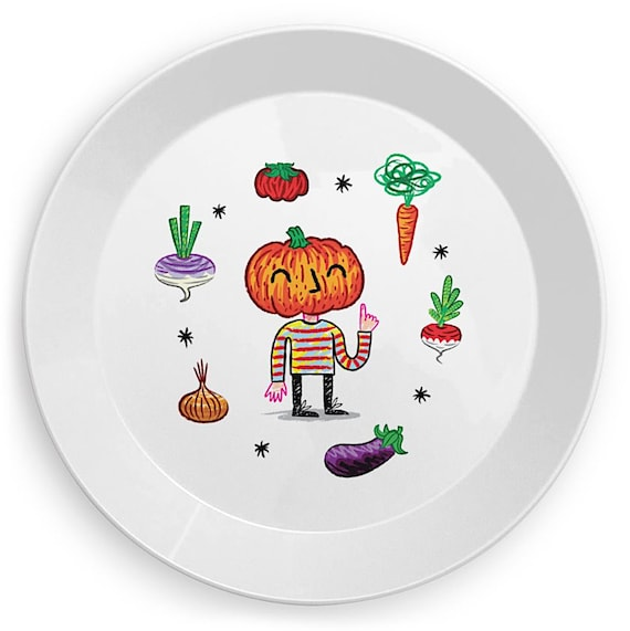 Do You Like Vegetables? - children's plate - kid's plates -  vegetable design by Oliver Lake iOTA iLLUSTRATiON