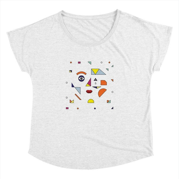 FACE MODERN - Womens / Ladies - T-shirt - Heather White - illustrated Dolman Tee - iOTA iLLUSTRATiON