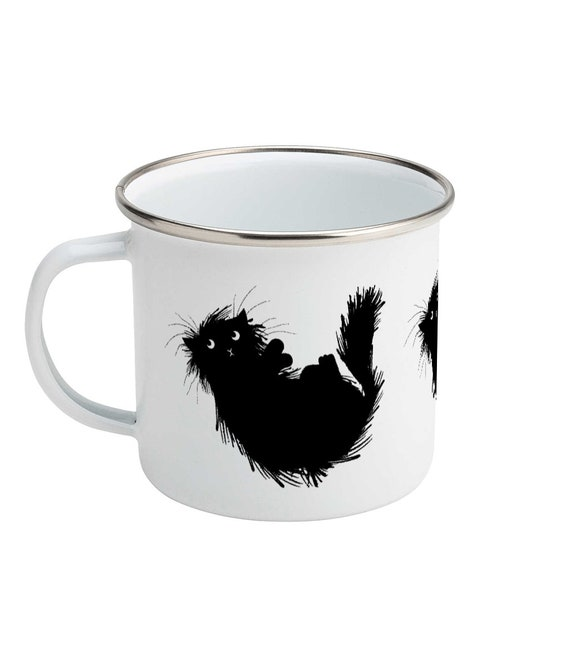Moggy (no.3) - Enamel Camping Mug - Black cat Design - Illustrated Mug by Oliver Lake
