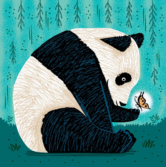 The Panda and The Butterfly - turquoise version - animal art print by Oliver Lake - iOTA iLLUSTRATiON