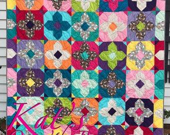 Rainbow Quilt - Bright colors, Jewel tones - Corgi Quilt- Graduation Gift