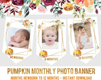 Pumpkin Monthly Photo Banner Printable First Birthday Decorations Our Little Is Turning One Watercolor Month Bannerk