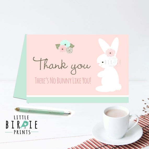 BUNNY thank you card - Bunny baby shower birthday thank you card - Bunny instant download printable - There's no bunny like you