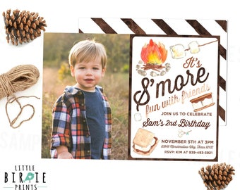S'MORES Birthday Invitation - S'more invitation S'more  birthday party Camping birthday invitation S'more party watercolor boy girl options