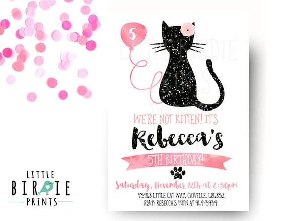 Cat Invitation Cat Birthday Party Invitation Kitty Cat Etsy